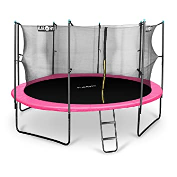 Klarfit Rocketboy 430 Cama elástica trampolin con red de seguridad (superficie base 430cm diametro, sujecion 4 patas doble, varillas de sujecion ...