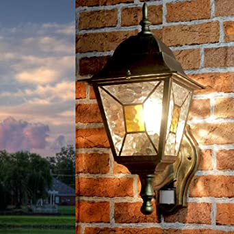 Gran luz exterior con detector de movimiento H:35cm cristal antiguo de oro E27 lámpara de jardín pared casa balcón patio terraza: Amazon.es: Iluminación