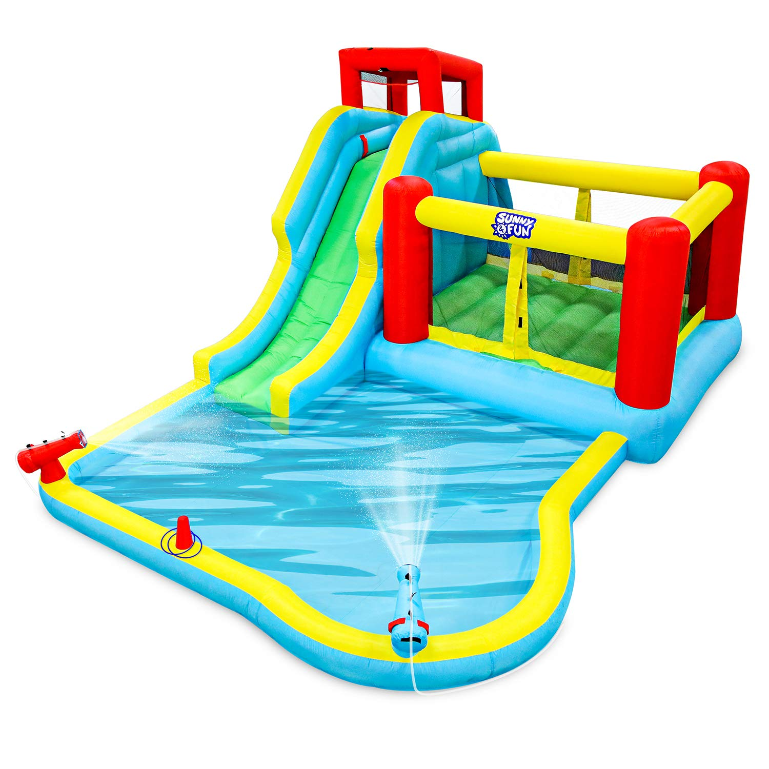 Deluxe Inflatable Water Slide Park - Heavy-Duty Nylon Bounce House for Outdoor Fun - Climbing Wall, Slide, Bouncer & Splash Pool - Easy to Set Up & Inflate with Included Air Pump & Carrying Case by Sunny & Fun