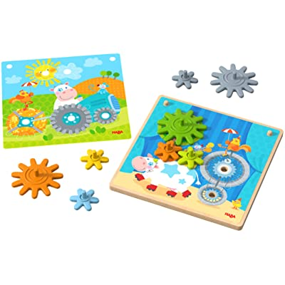 HABA Curious Cogs Game Traveling Animals | Wooden Gear Wheel Toy | 303869: Toys & Games