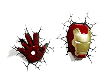 Marvel 3d deco light avengers iron man mask helmet and repulsor hand marvel 3d deco light avengers iron man mask helmet and repulsor hand deluxe set wall nightlight aloadofball Images
