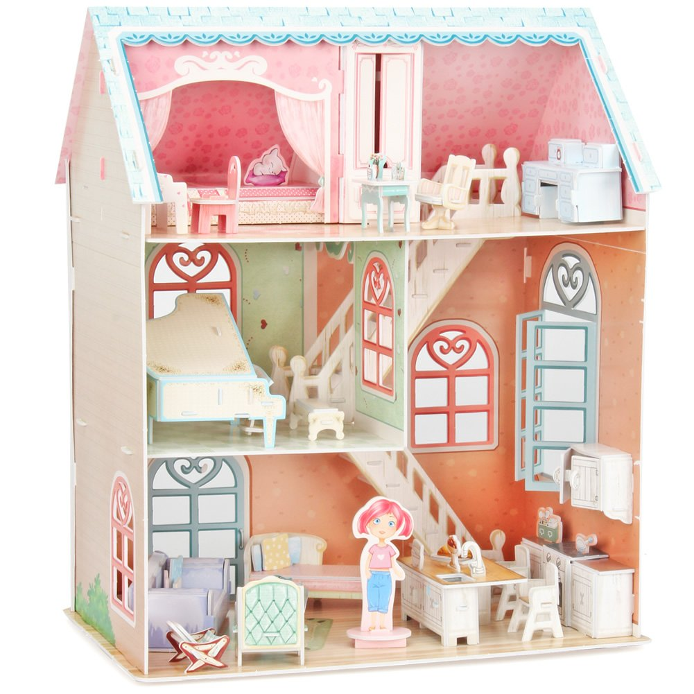 CubicFun Dollhouse Kits with Furniture, Kids House 3D Puzzle Toys 160 Piece, P645h