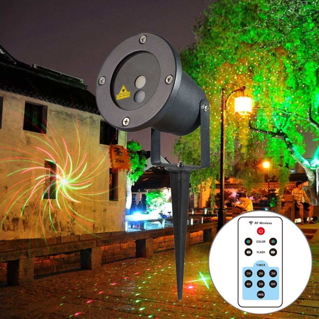 Outdoor Lights OD-08 5W Life Waterproof 8 in 1 Patterns Outdoor Lawn Yard Garden Decorative Projector Lamp with Remote Controller Garden Lights