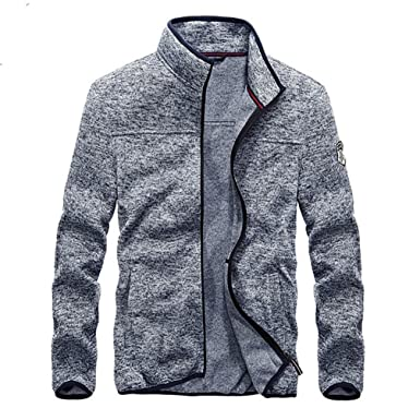 Spring Autumn Men Casual Windbreaker Bomber Jackets Slim Fit Stand Collar Gray M