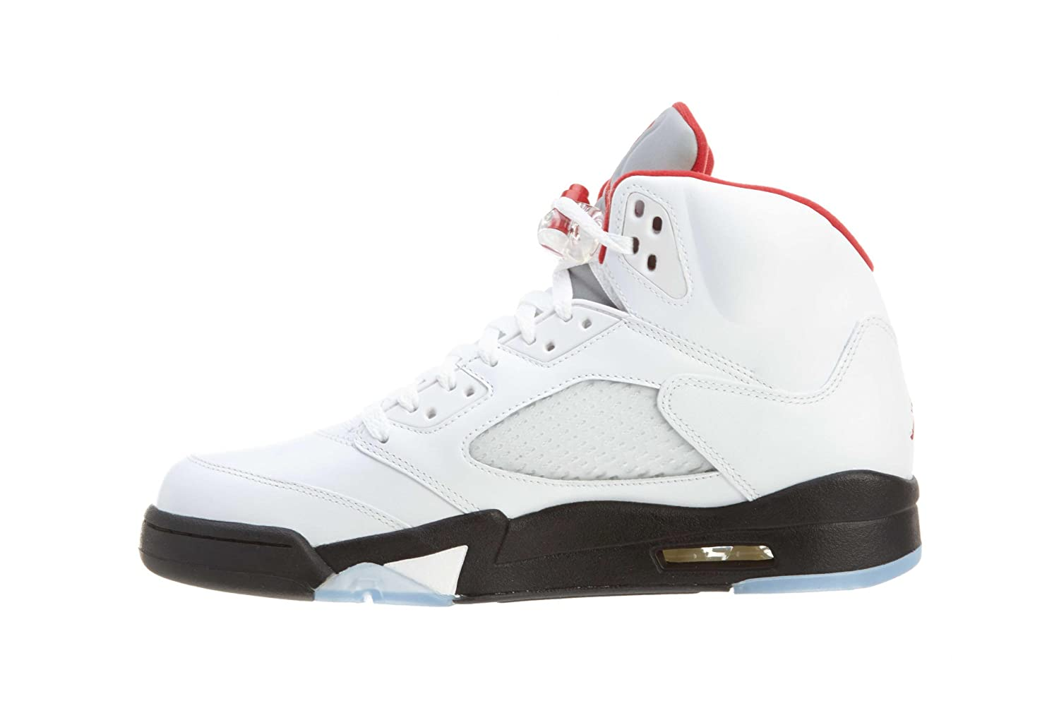 Amazon.com | Nike Air Jordan 5 Retro Mens Basketball Shoes, White-Fire  Red-Black (US 10.5) | Basketball