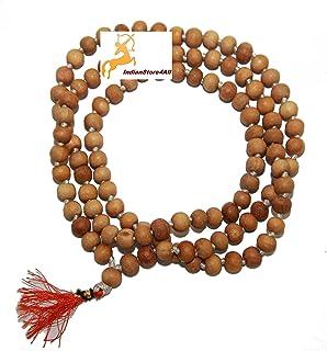 IndianStore4All Hare Rama Hare Krishna Tulsi Holy Basil Japa Mala 108-1 8mm Beads Tulsi Mala with Gomukhi Japa Bag