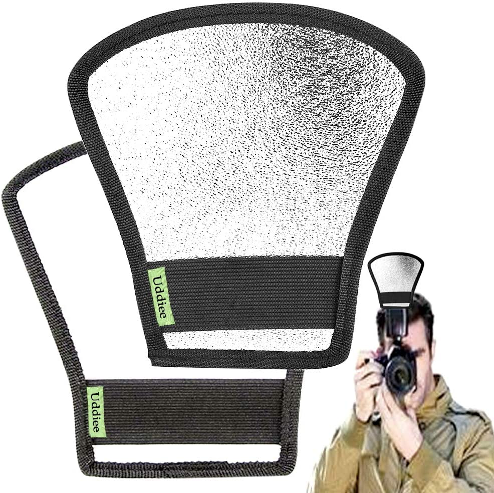 Sony 2 Pcs Camera Flash Light Diffusers Reflectors Double Sided White and Silver Bend Bounce Flash Reflector Kit for Camera Speedlight Flashes of Canon Fuji Nikon