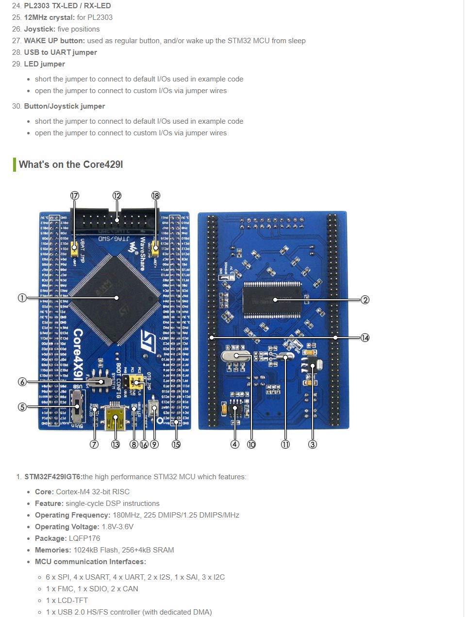 Waveshare STM32 Development Board STM32F429IGT6 STM32F429 ARM Cortex
