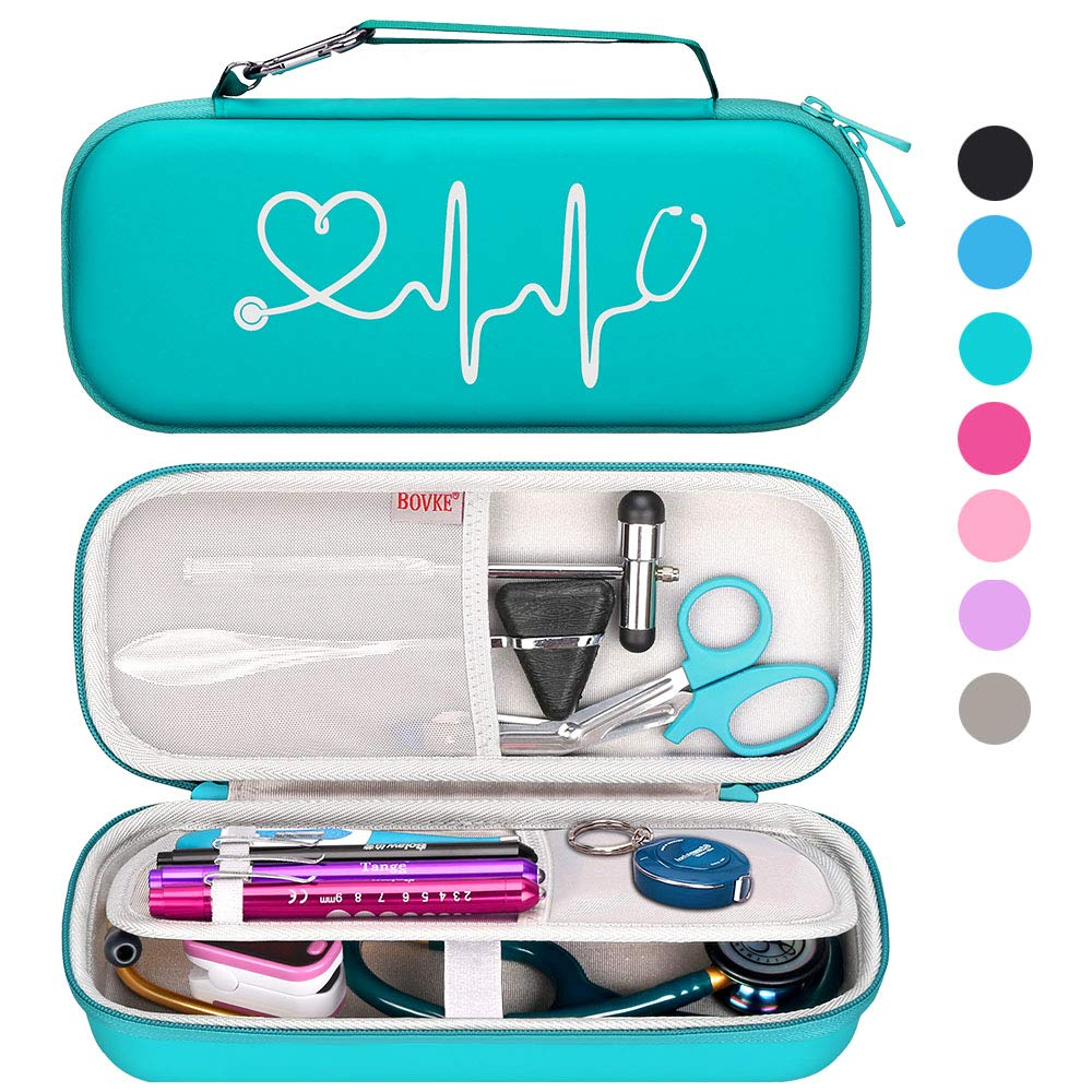 BOVKE Travel Case for 3M Littmann Classic III, Lightweight II S.E, Cardiology IV Diagnostic, MDF Acoustica Deluxe Stethascopes - Extra Room for Taylor Percussion Reflex Hammer and Penlight, Emerald