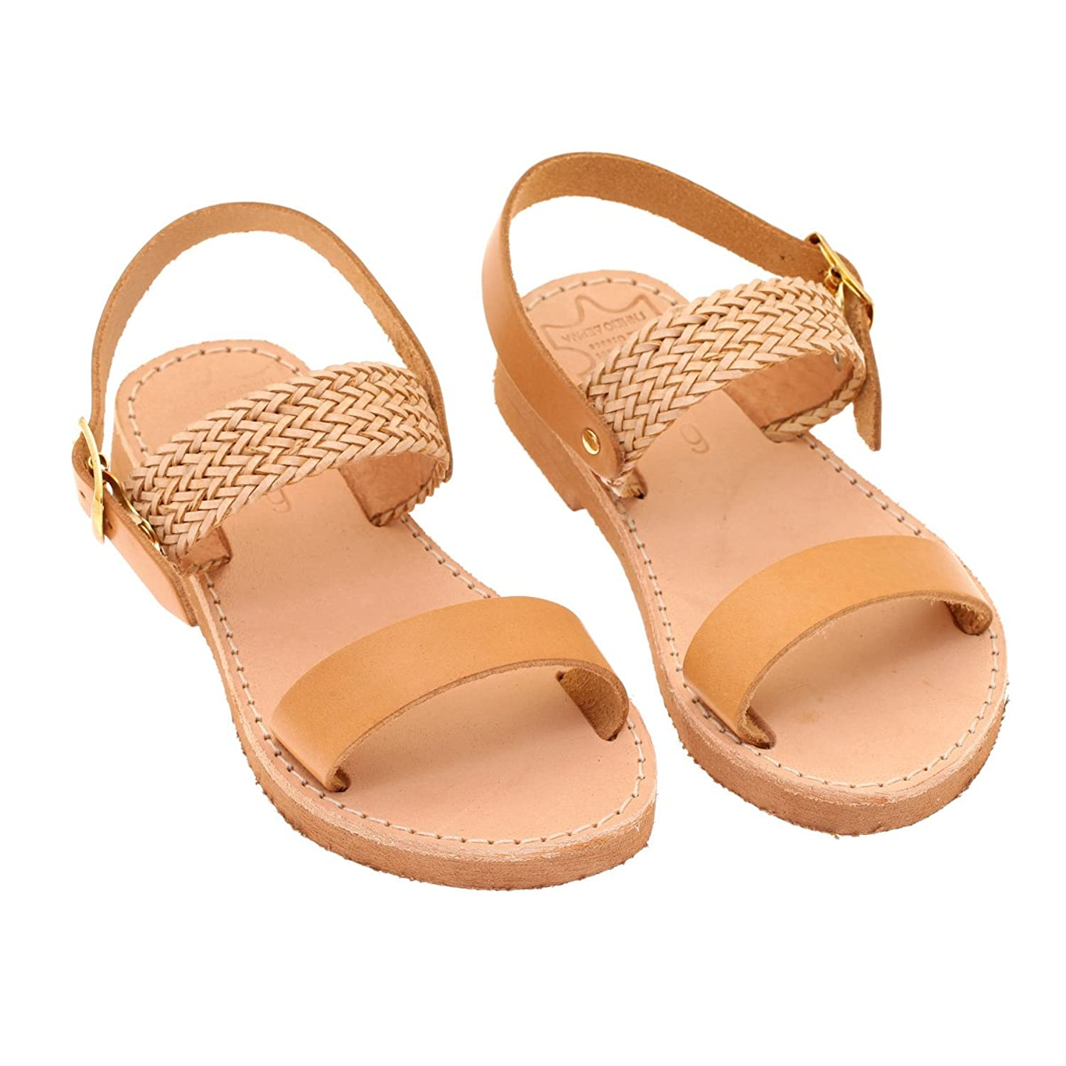 Handmade Leather Sandals For Children Model Schinoussa Natural