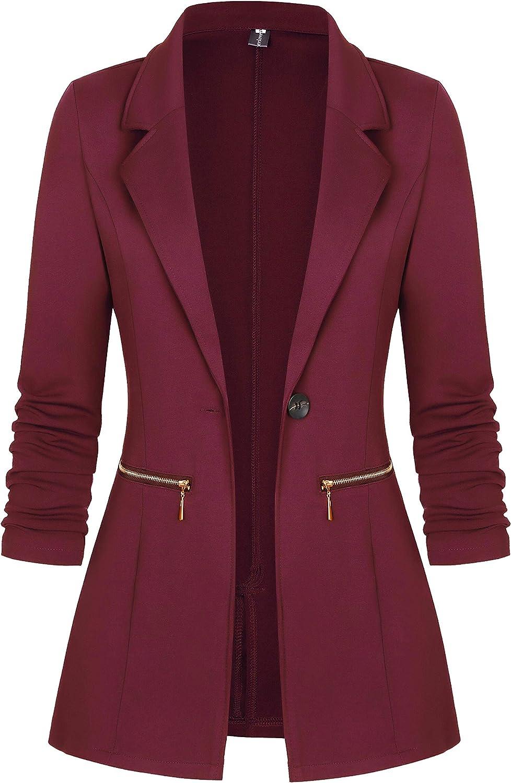Genhoo Women's Long Sleeve Blazer Open Front Cardigan Jacket Work Office Blazer with Zipper Pockets