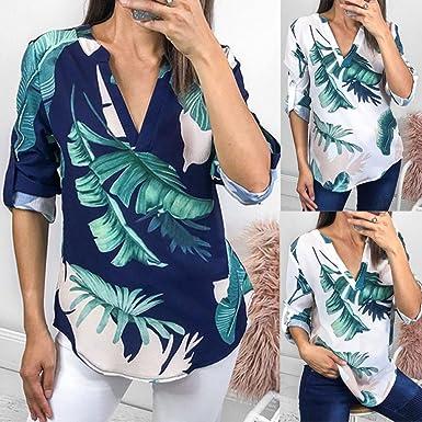 QinMM Camiseta Hoja Suelta de Mujer, Camisa de Media Manga con Cuello EN v Blusa Tops: Amazon.es: Ropa y accesorios