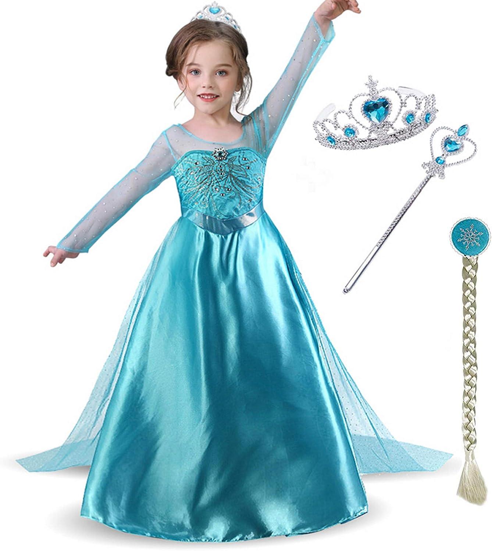 Childrens Kids Girls Ice Snow Queen Princess Elsa Halloween Costume Dress Cape