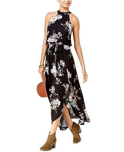 0ee6178f5292 American Rag Juniors' High-Neck Floral-Print Sleeveless Maxi Dress (Classic  Black