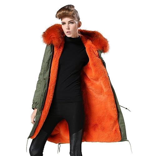 Parka XXL Cuello de auténtica piel de 100% Pelo Real Chaqueta Abrigo Caqui 8colores