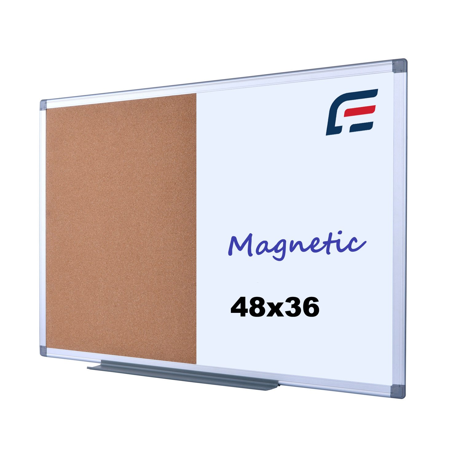 EFIRNITURE Magnetic Erase Board & Cork Board Combination, 48x36 Inch Aluminum Frame Wall Mounted Combination Board with Removable Marker Tray