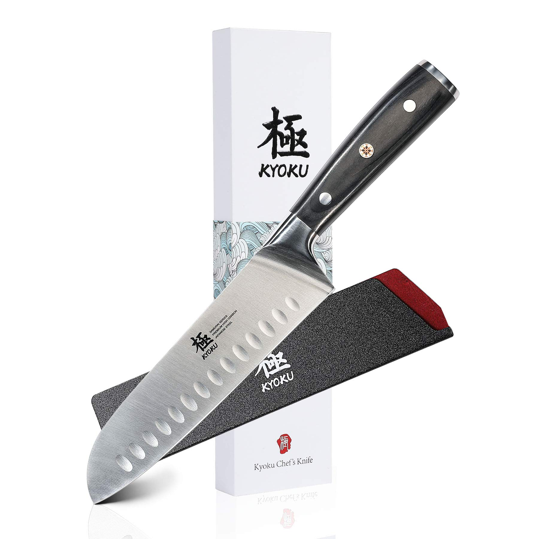 KYOKU Samurai Series - Santoku Chef Knife 7'' with Sheath & Case - Full Tang - Japanese High Carbon Steel - Pakkawood Handle with Mosaic Pin by KYOKU (Image #1)
