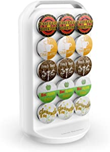 Mind Reader 30-Capacity K-Cup Storage Holder, White Coffee Pod Carousel