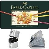 Faber Castell Premium Polychromos 60 Color Pencil Set, with BONUS Trio Pencil Sharpener, Art Eraser and CSS Coloring Book