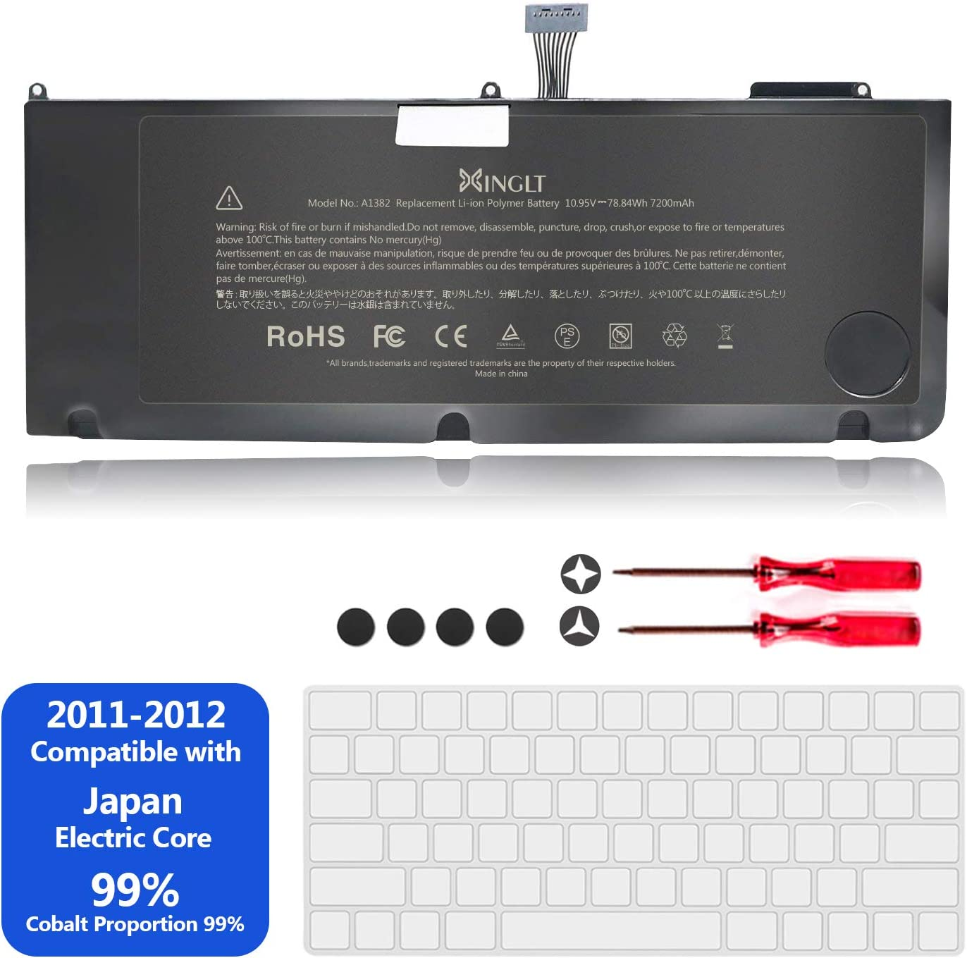 "A1382 Laptop Battery for Apple MacBook Pro A1286 15 inch [EMC Number:2353-1, 2563,2556] Only for MacBook Pro A1286 15"" Early 2011, Late 2011, Mid 2012 Version High Capacity 7200mAh 10.95V/78.84Wh"