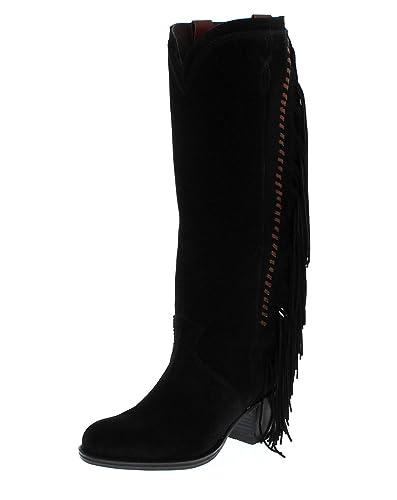 Sendra Boots Stiefel KAREN Schwarz Damen Fashion Stiefel mit Fransen