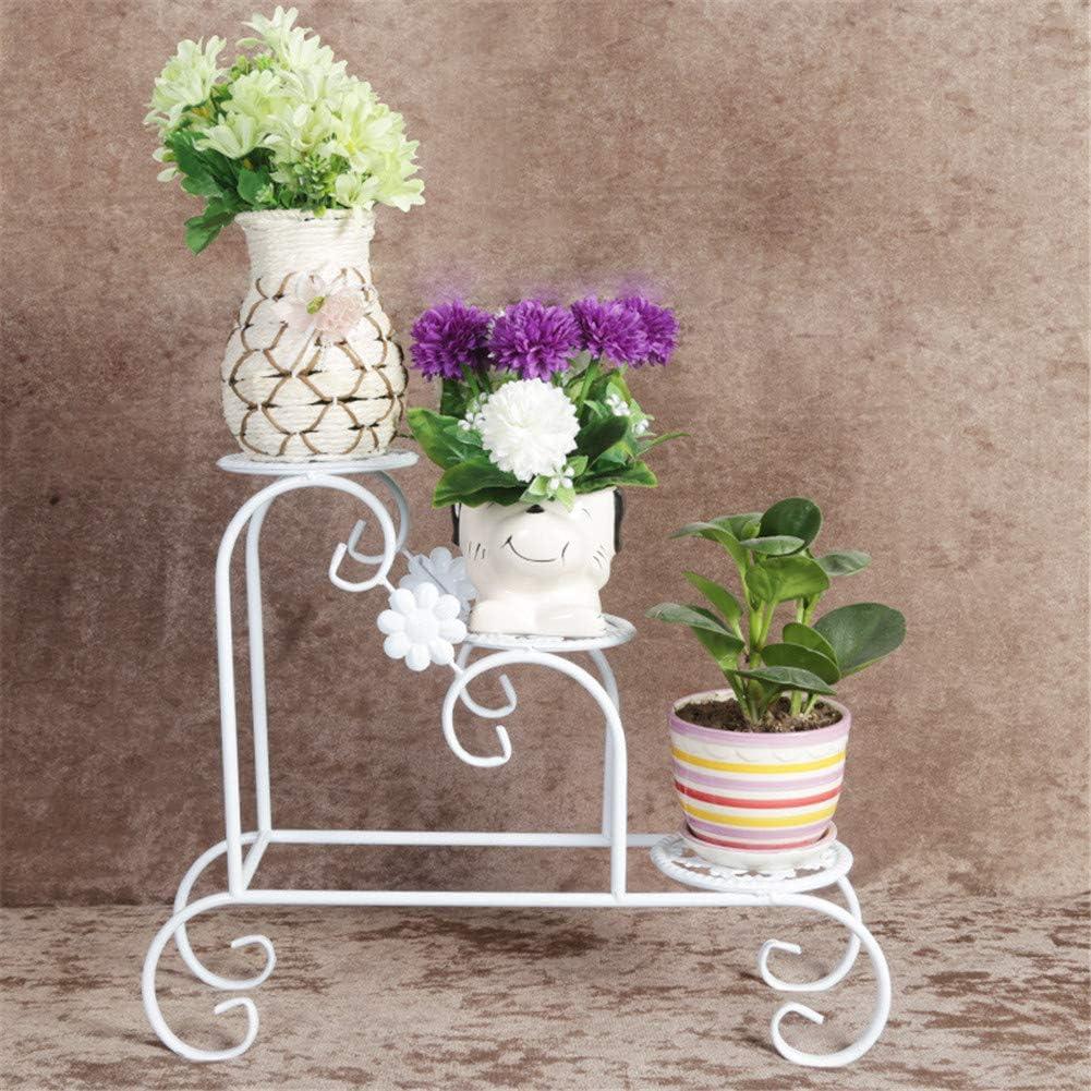 GZL-backpack Soporte de sobremesa pequeña Flor, Hierro Macetas Estante de exhibición, con Patas Antideslizantes, Recorte, Diseño de Interiores decoración de jardín,Blanco