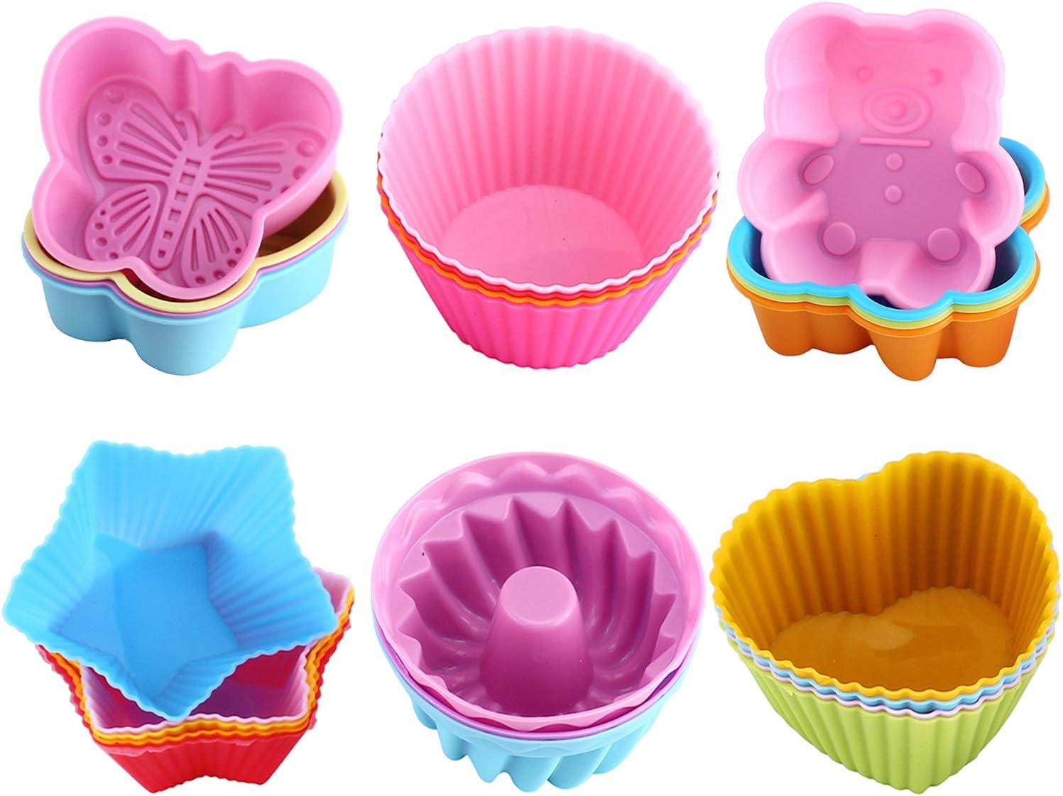 WOMGF Moldes de horneado de Silicona Mollete Magdalena Hornear Reutilizables Muffins para Hornear Tarta para Magdalenas Grado alimenticio Pack de 26
