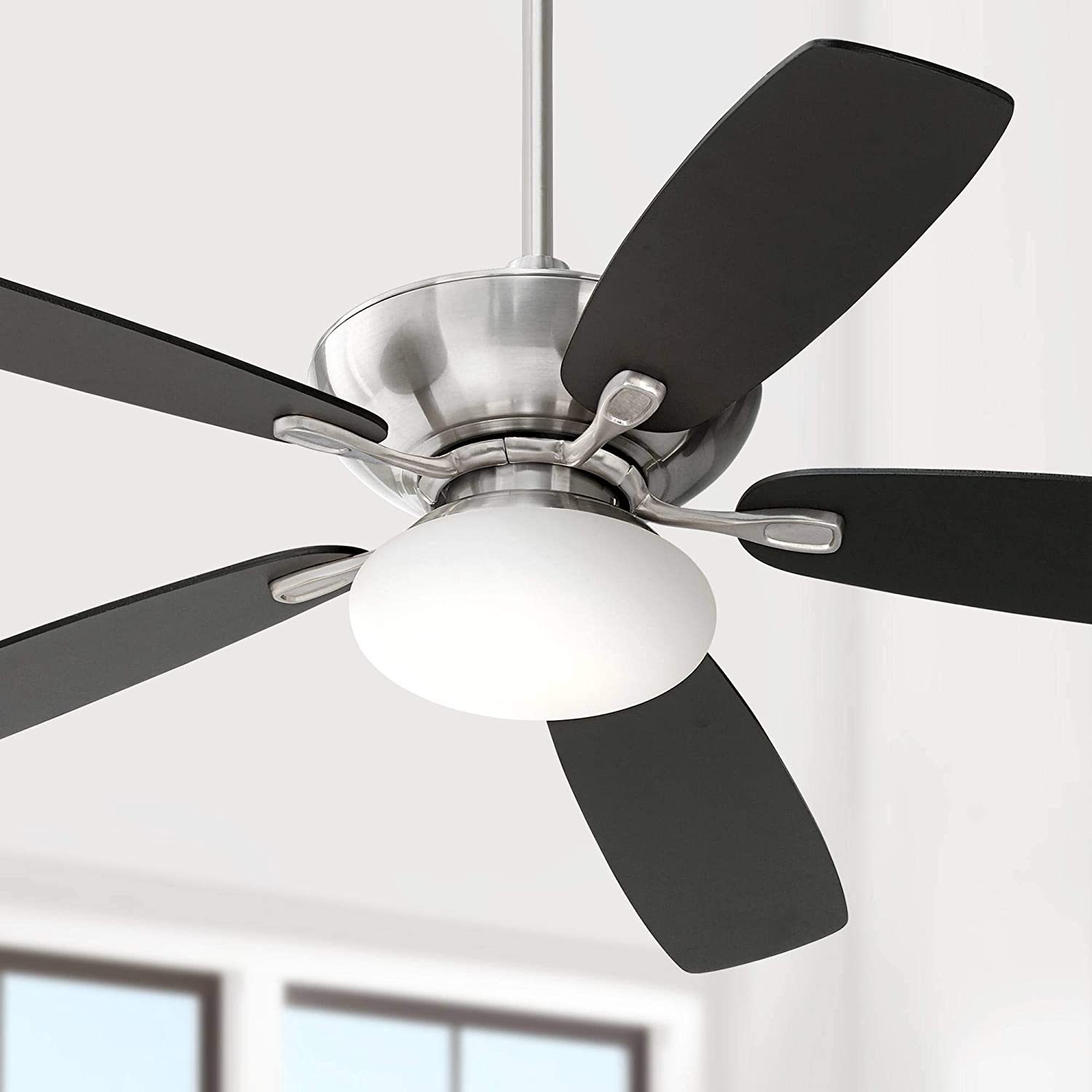 52 Flex Modern Ceiling Fan with Light LED Brushed Nickel Reversible Silver Black Blades Opal Etched Glass for Living Room Kitchen Bedroom Family Dining – Casa Vieja