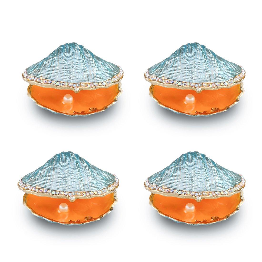 Beige Pearl Mussel Hinged Clam Trinket Box Wedding Ring Holder Metal Seashell Figurine