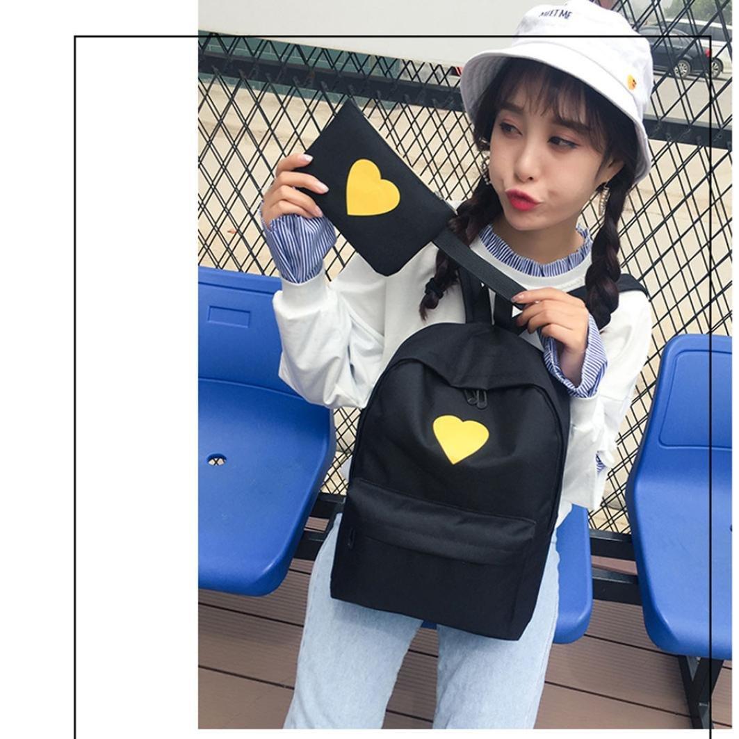Travel Backpack ,Creazy Women Girl Fashion Love Print Preppy Style School Bag Travel Backpack Bag+Wallet (Black) by Creazydog (Image #2)