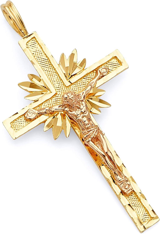 Wellingsale 14 K 2つ2トーンローズとイエローゴールド光沢ダイヤモンドカットReligiousカトリックサンバーストラテン十字架ペンダント