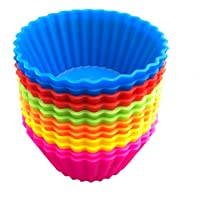 Jumbo Silicone Baking Muffin Cups Cake Cups Cupcake Liners Molds - 12Packs in 6 Colors Large 3.54 inch Reusable for Muffin Gelatin Snacks Frozen Treats Ice Cream (9CM)