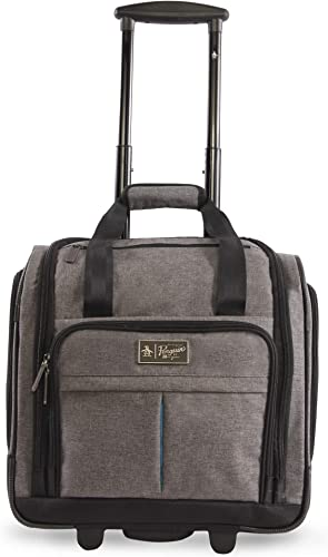 ORIGINAL PENGUIN Men s Ethan Wheeled Under The Seat Carry On Bag, Grey Crosshatch, One Size