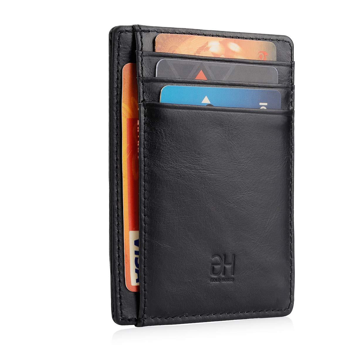 GH GOLD HORSE Slim RFID Blocking Card Holder Minimalist Leather Front Pocket Wallet for Women (Black)