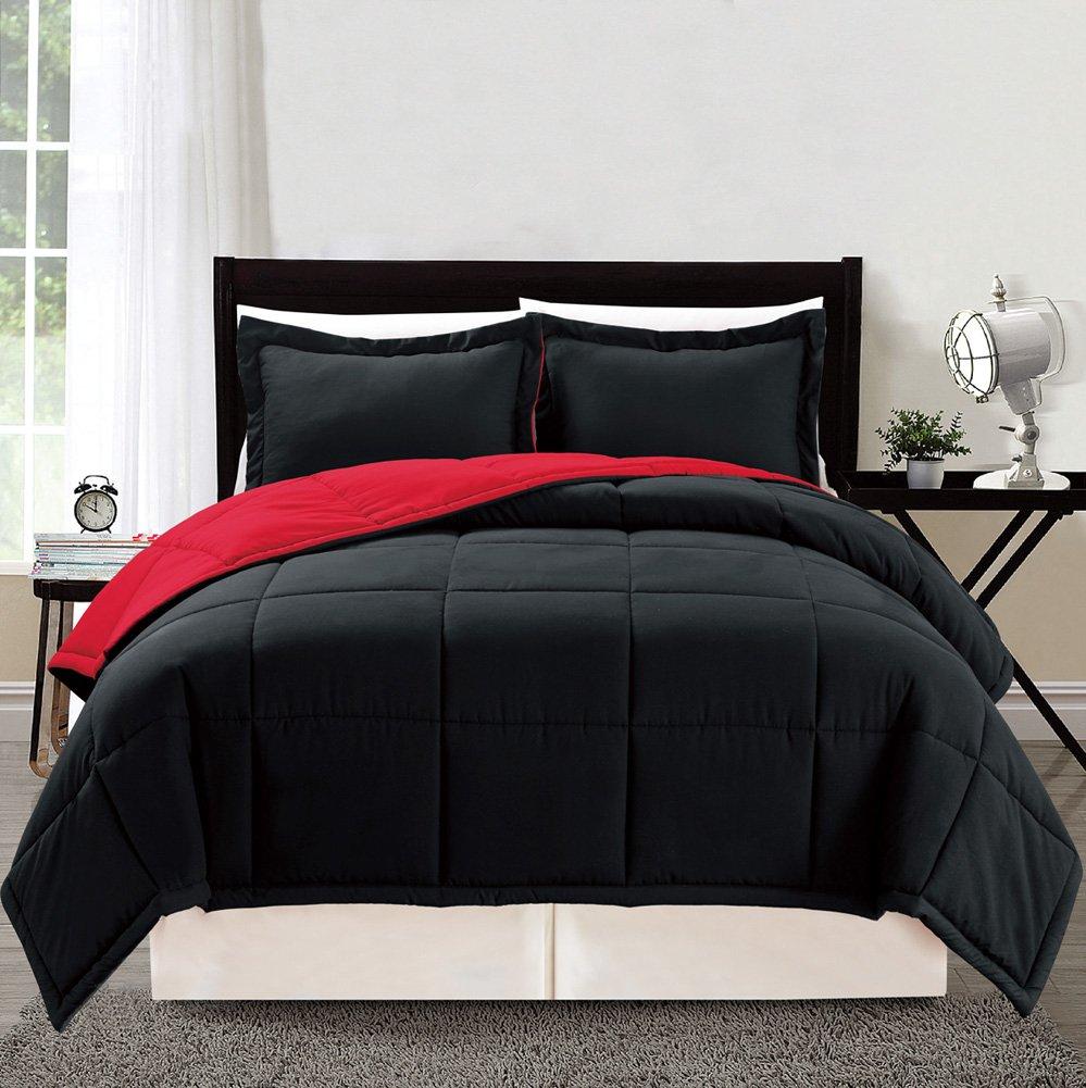 3 piece Luxury BURGUNDY RED/BLACK Reversible Goose Down Alternative Comforter set, King/Cal King Duvet Insert