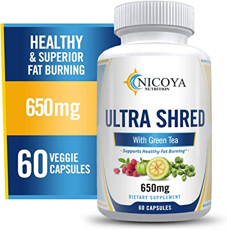 Nicoya Nutrition Ultra Shred - Green Tea Extract Supplement - Weight Loss Pills, Appetite Suppressant, Metabolism & Thermogenic Fat Burner - Healthy Weight Loss for Men & Women