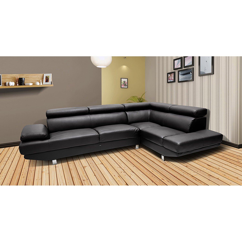 Canapé d angle droit Héléna avec tªti¨res inclinables Noir Amazon