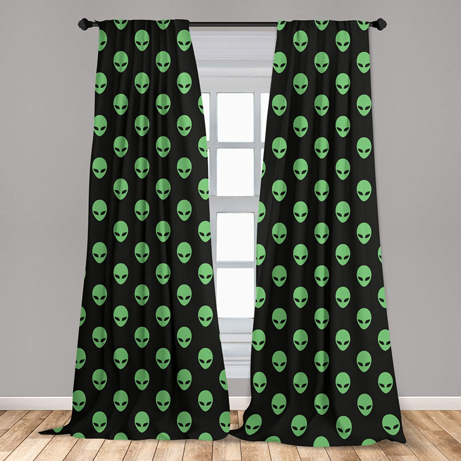 """Ambesonne Alien Window Curtains, Supernatural Martiansal Beings from Other Planets Head of an Alien, Lightweight Decorative Panels Set of 2 with Rod Pocket, 56"""" x 63"""", Fern Green"""
