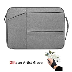 Drawing Tablet Case Carrying Bag with Artist Glove Graphics Tablet Sleeve Protective Bag for Huion H610 Pro, HS610, Xp-Pen Deco 01, Star 06, Ugee M708 and VEIKK A30, A50 (Light Gray)
