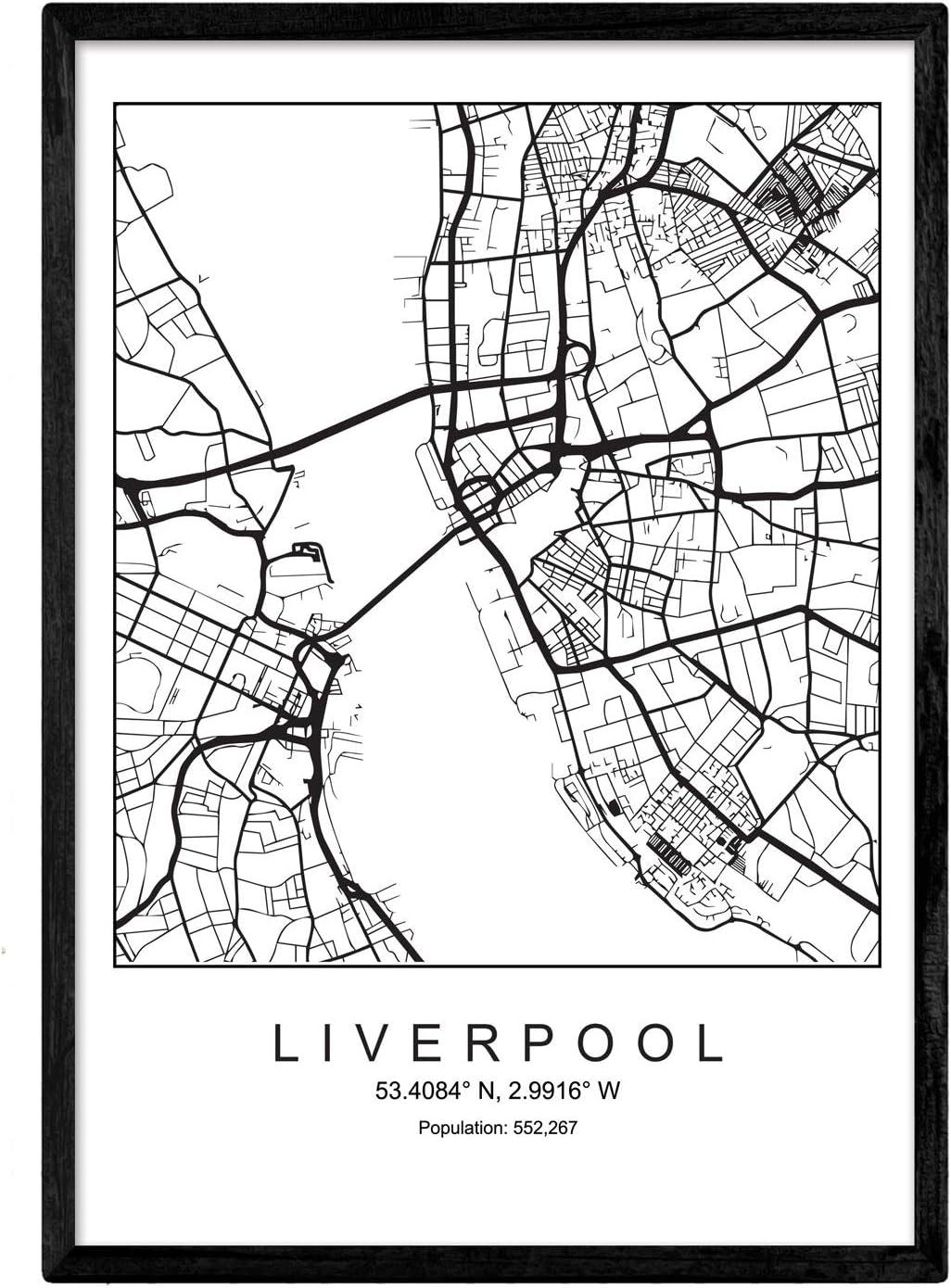 Nacnic Lámina Mapa de la Ciudad Liverpool Estilo nordico en Blanco ...