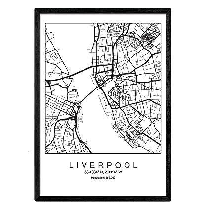Imprimer Plan De La Ville De Liverpool Style Scandinave En