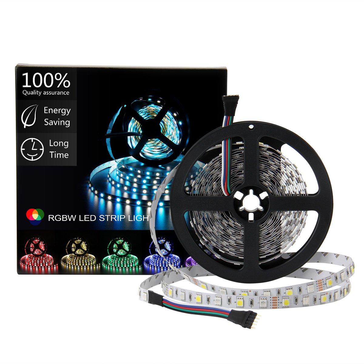 SUPERNIGHT LED Strip Light, 5050 16.4ft RGBW Non-waterproof LED Flexible Lighting, 12V 300LEDs, 5M Multi-colored LED Tape Lights -