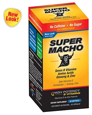 Super Macho Dietary Supplement with High Potency B Vitamins, No Preservatives, Sugar or Caffeine