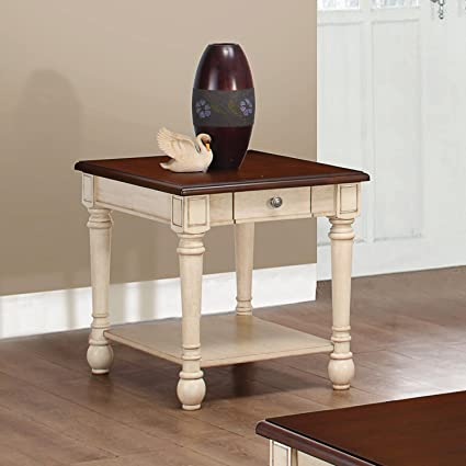Amazon Com Rectangular End Table Dark Brown And Antique White