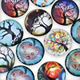 20pcs 25mm (1inch) glass glow in the dark dome seals cabochons round flatback,glowing jewelry,Tree of life