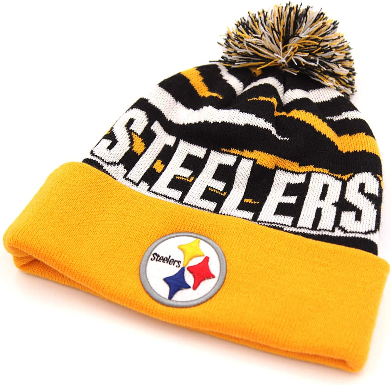 ILAVSHON American Football Team Logo Beanie Knit Cap with Pom for 2020 Raised Cuff Knit Sport Fans Winter Beanie Hat
