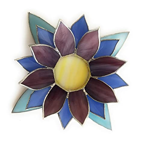 Amazoncom Blue And Purple Lotus Stained Glass Candle Holder Handmade