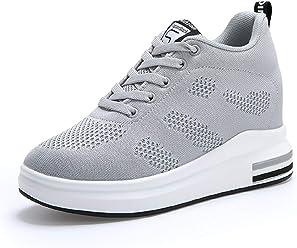 AONEGOLD® Scarpe con Zeppa Interna Donna Scarpe da Ginnastica Basse Sportive  Fitness Sneakers Zeppa Interna 74e6eb8c21f