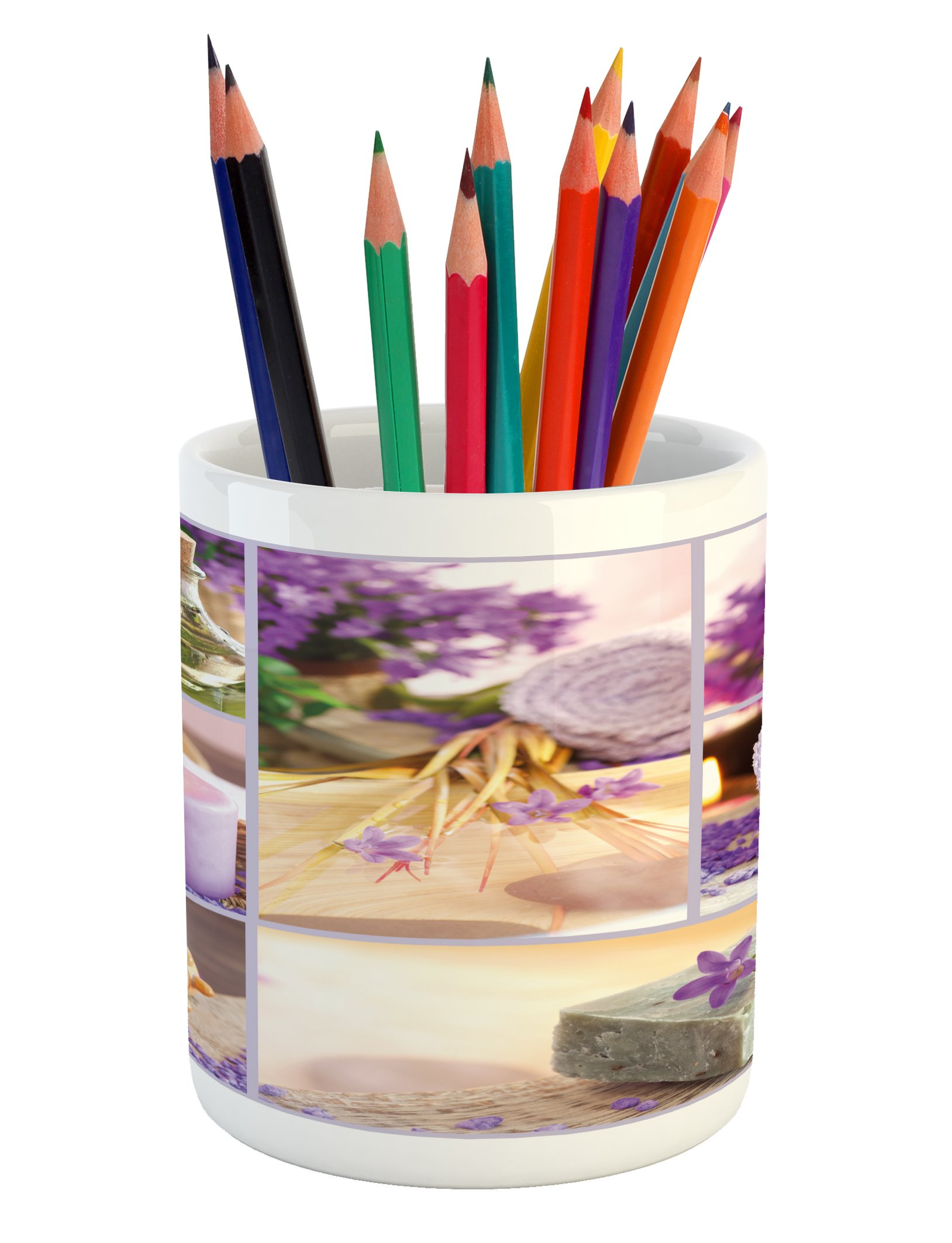 Lunarable Spa Pencil Pen Holder, Lavender Themed Relaxing Joyful Spa Day with Aromatherapy Oils Candles Relaxation, Printed Ceramic Pencil Pen Holder for Desk Office Accessory, Purple and White