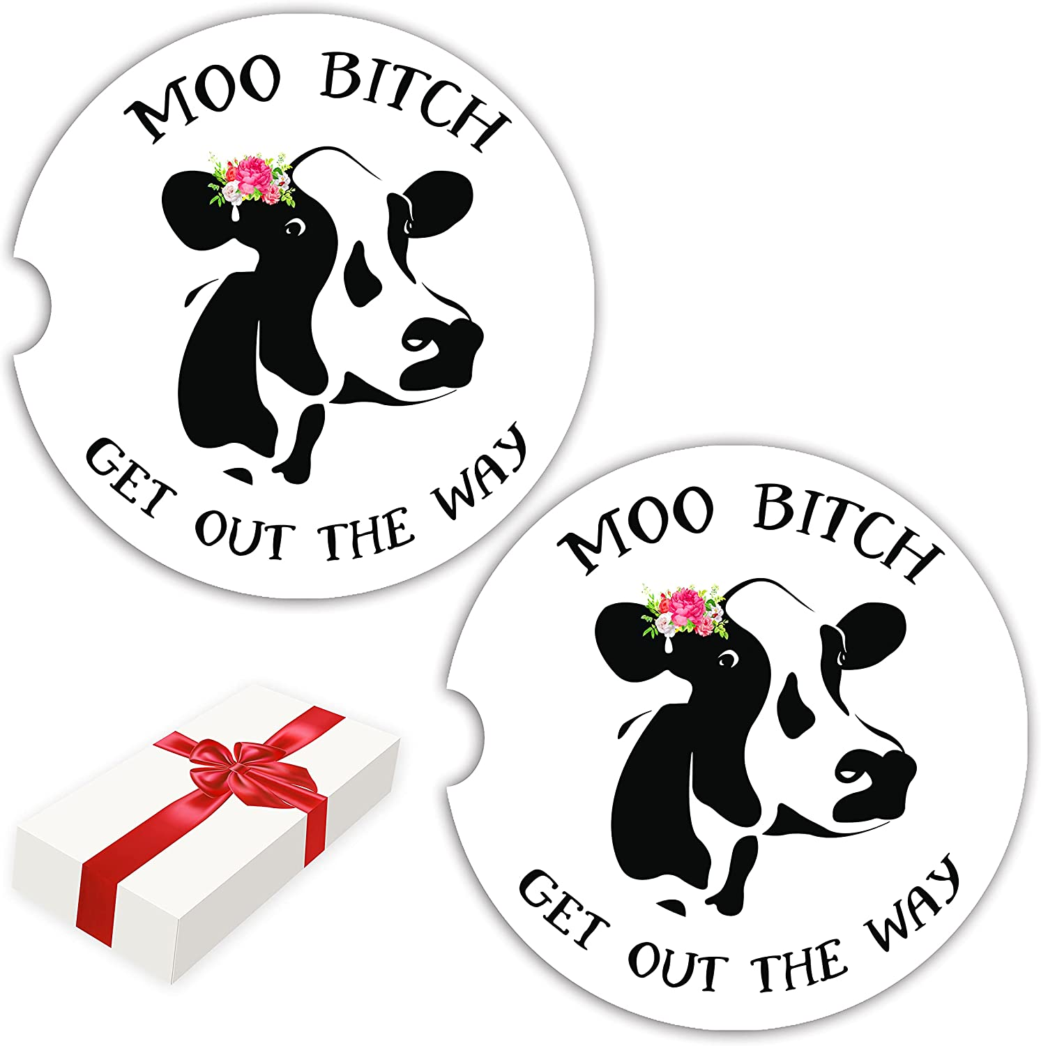 UPNOWPRO Funny Car Coasters for Cup Holders 2 Pack, Cow Print Car Accessories for Women, Farm Animal, Cute Car Cup Holder Coasters, Absorbent Ceramic Car Coaster to Keep Cupholder Clean with Cork Base